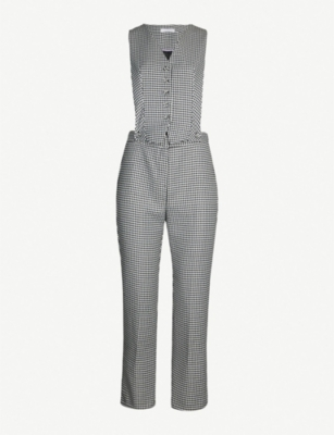 TOPSHOP Houndstooth waistcoat-style front jumpsuit