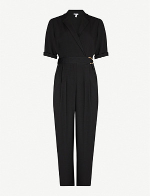 TOPSHOP D-ring belt wide-leg crepe jumpsuit
