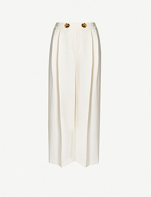 TOPSHOP Rita wide-leg cropped crepe trousers