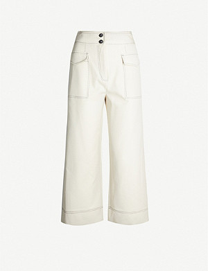 TOPSHOP Utility high-rise cotton-blend wide-leg trousers
