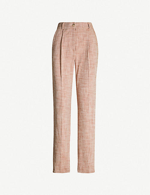 cfdc4ba9f1 TOPSHOP High-rise cotton-twill straight-leg trousers