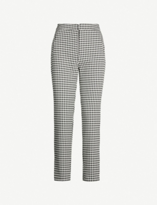 TOPSHOP Houndstooth high-rise cropped trousers