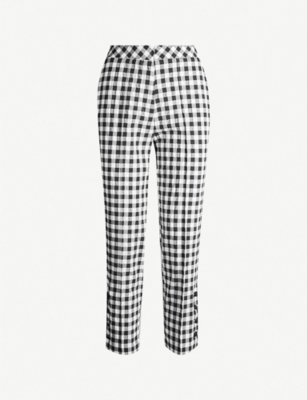 TOPSHOP Gingham tapered crepe trousers