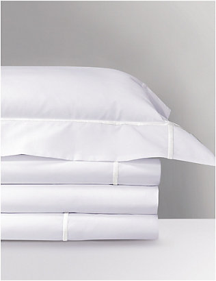 YVES DELORME: Athena Blanc cotton king-size flat sheet
