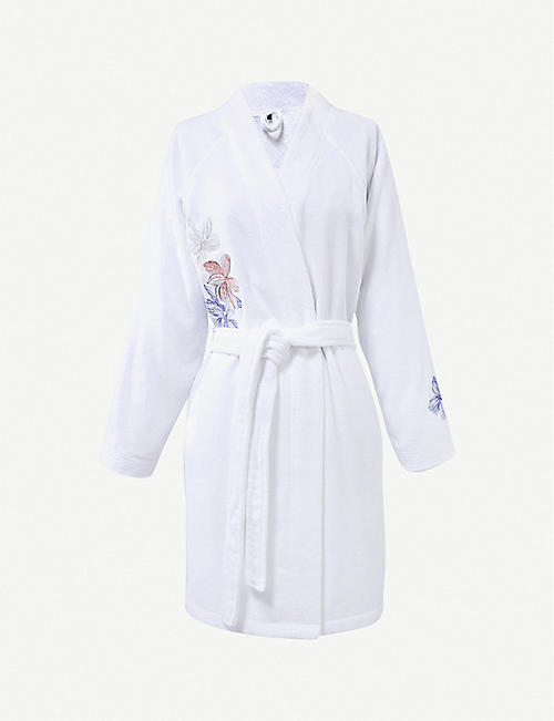 BOSS Windroses floral-embroidered cotton robe