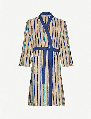 KENZO: Kjacket striped cotton bath robe