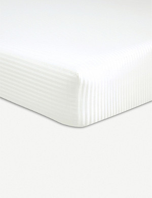 BOSS Baptiste Craie striped cotton single fitted sheet 200x90cm