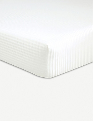 BOSS Baptiste Craie striped cotton double fitted sheet 200x140cm
