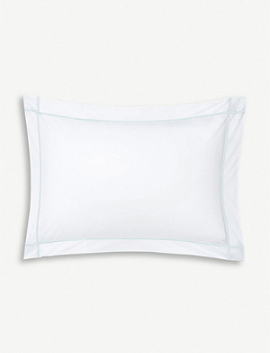 YVES DELORME Athena Aqua cotton king pillowcase 50x90cm
