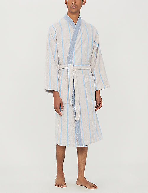 YVES DELORME Bois floral-pattern cotton-blend bath robe