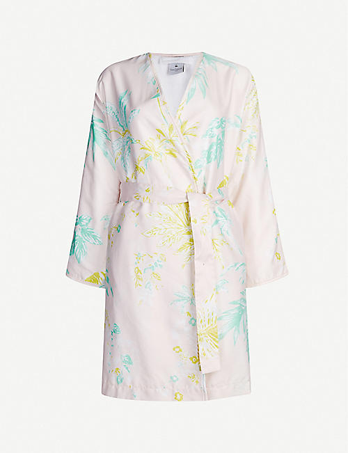 YVES DELORME Ete V-neck cotton-poplin and towelling bathrobe
