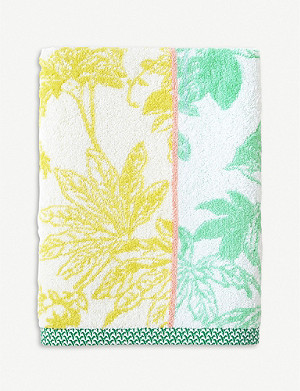 YVES DELORME Ete tropical-print cotton-jacquard bath sheet 90x150cm