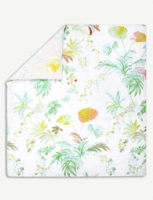YVES DELORME Ete tropical-print cotton-sateen duvet cover