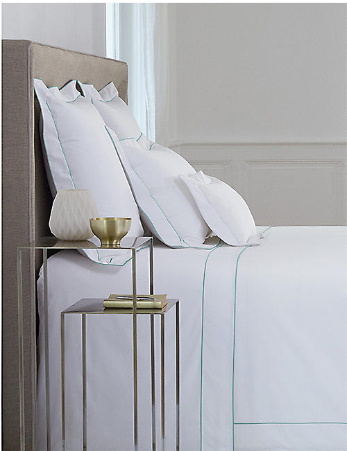 YVES DELORME Flandre Celadon cotton single duvet cover 200x140cm
