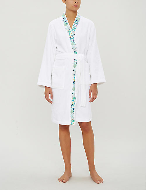 YVES DELORME Flora embroidered cotton-towelling bathrobe