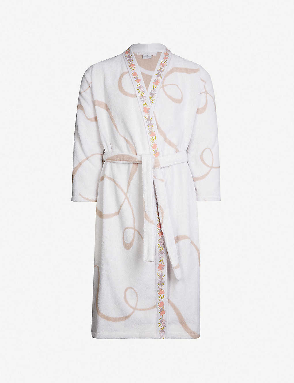 YVES DELORME: Galons embroidered geometric cotton-towelling bathrobe