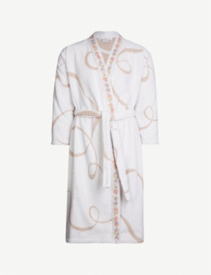 YVES DELORME Galons embroidered geometric cotton-towelling bathrobe