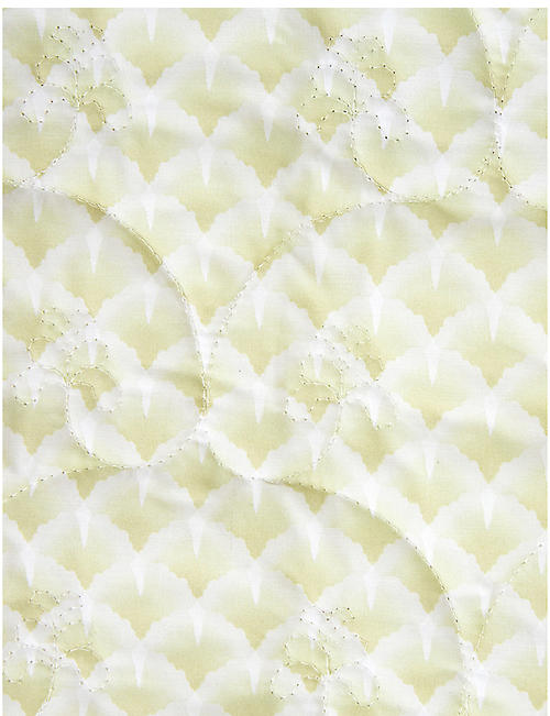 YVES DELORME Ginkgo leaf-print cotton-percale bedspread