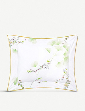 YVES DELORME Ginkgo leaf-print cotton-percale pillowcase
