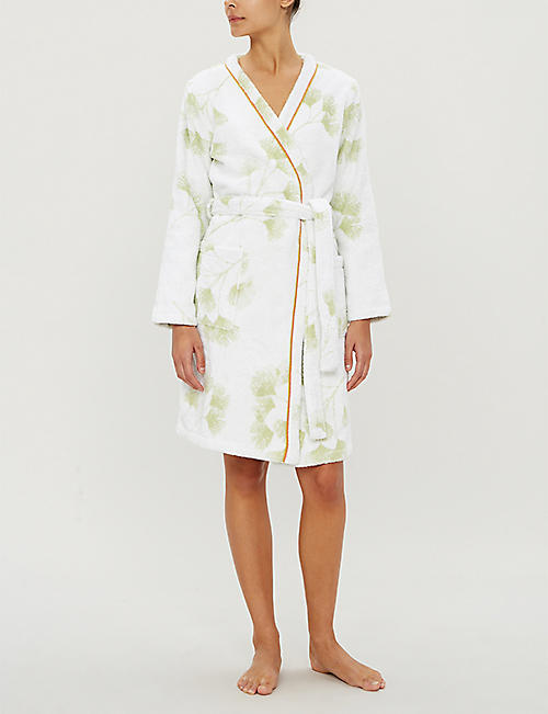 YVES DELORME Ginko leaf print cotton-towelling bathrobe