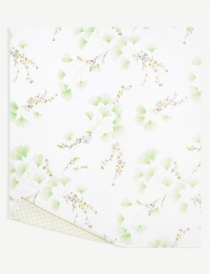 YVES DELORME Ginkgo leaf-print cotton-percale flat sheet