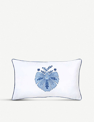 YVES DELORME Palmes embroidered cotton cushion cover 30x50cm
