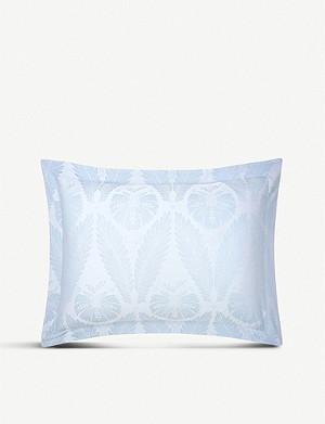 YVES DELORME Palmes jacquard sateen and combed cotton pillow case 53cm x 71cm