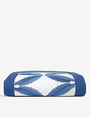 YVES DELORME Palmes embroidered cotton bed runner
