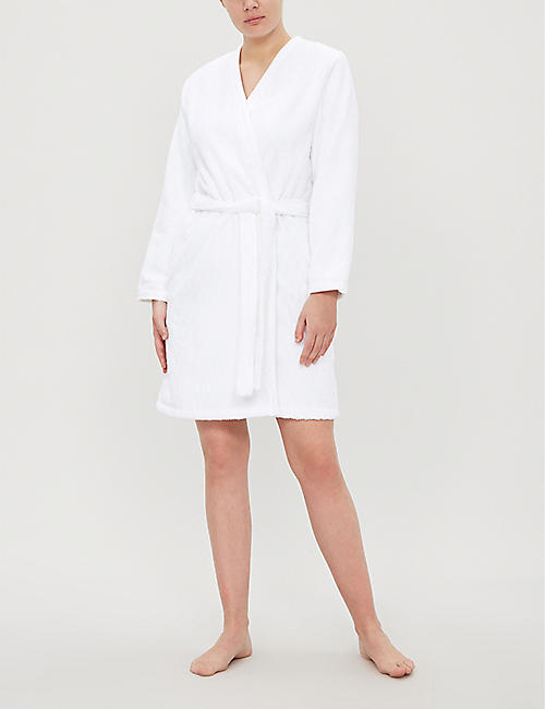 YVES DELORME Plissé cotton-towelling bathrobe