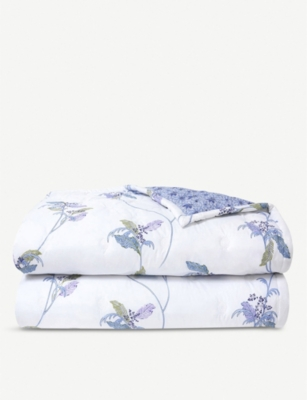YVES DELORME Plumes bird-print cotton-percale duvet cover