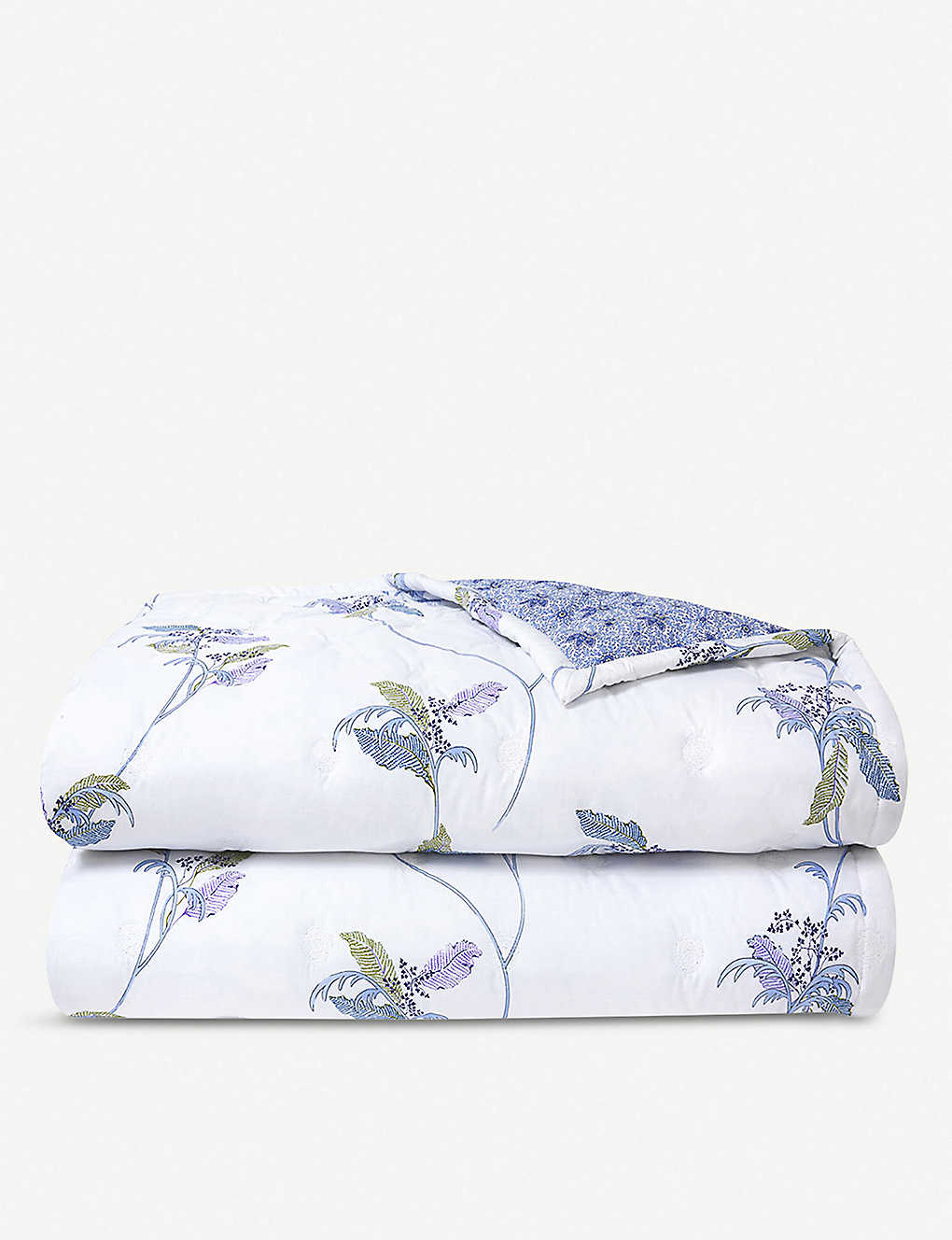 YVES DELORME: Plumes bird-print cotton-percale duvet cover