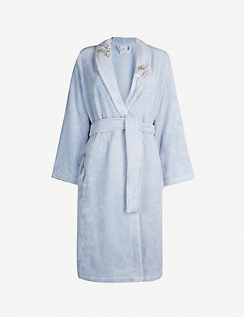 YVES DELORME Plumes embroidered cotton-towelling bathrobe