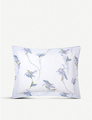 YVES DELORME: Plumes printed cotton-percale Oxford pillowcase
