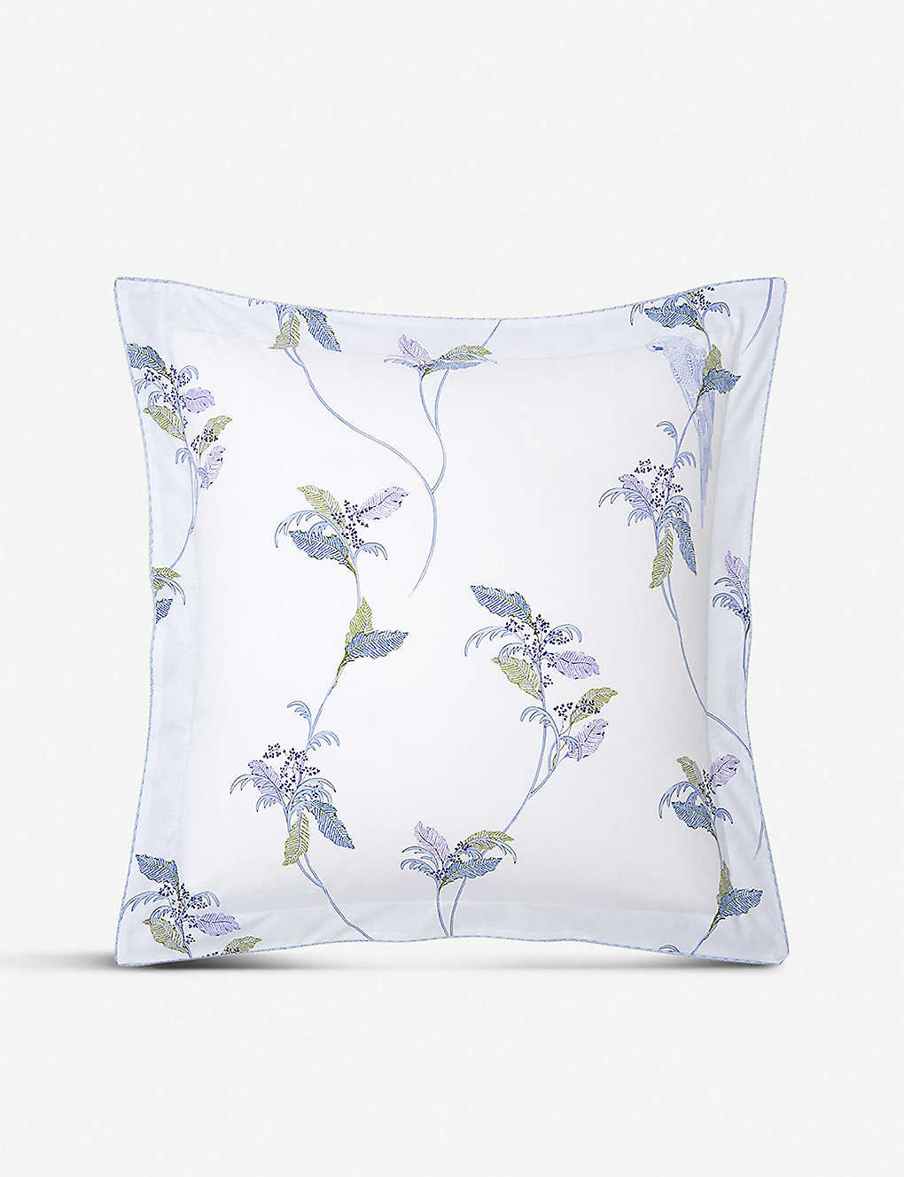 YVES DELORME: Plumes printed cotton-percale pillowcase 65cm x 65cm