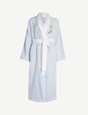 YVES DELORME Floral-embroidered cotton-towelling bathrobe