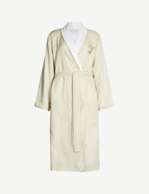 YVES DELORME Romantic floral-embroidered cotton and linen-blend bathrobe