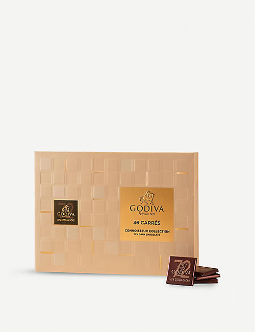 GODIVA Dark chocolate carres box of 36