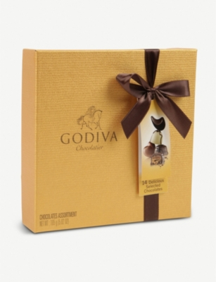Gold Ballotin Assorted Chocolates Box Of 14 by Godiva