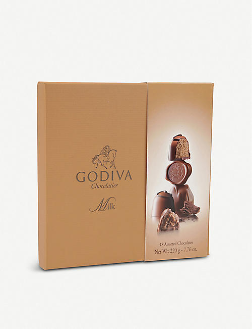 GODIVA Connoisseur assorted milk chocolates box of 18