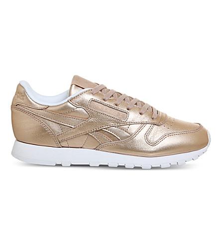 b6a65e89415e Reebok Classic Leather Sneakers In Pearl Metallic Peach