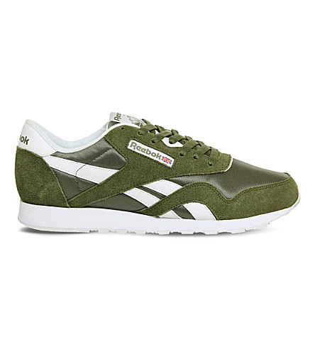 31c29d6fb81 REEBOK Classic lace-up suede trainers (Canopy+green+white