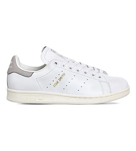 half off 3d227 ca026 Adidas Originals Stan Smith Leather Sneakers In Premium White Grey