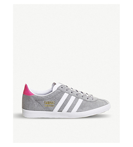 half off 55cf3 f0a5a ADIDAS Gazelle OG low-top suede trainers (Grey+solar+pink