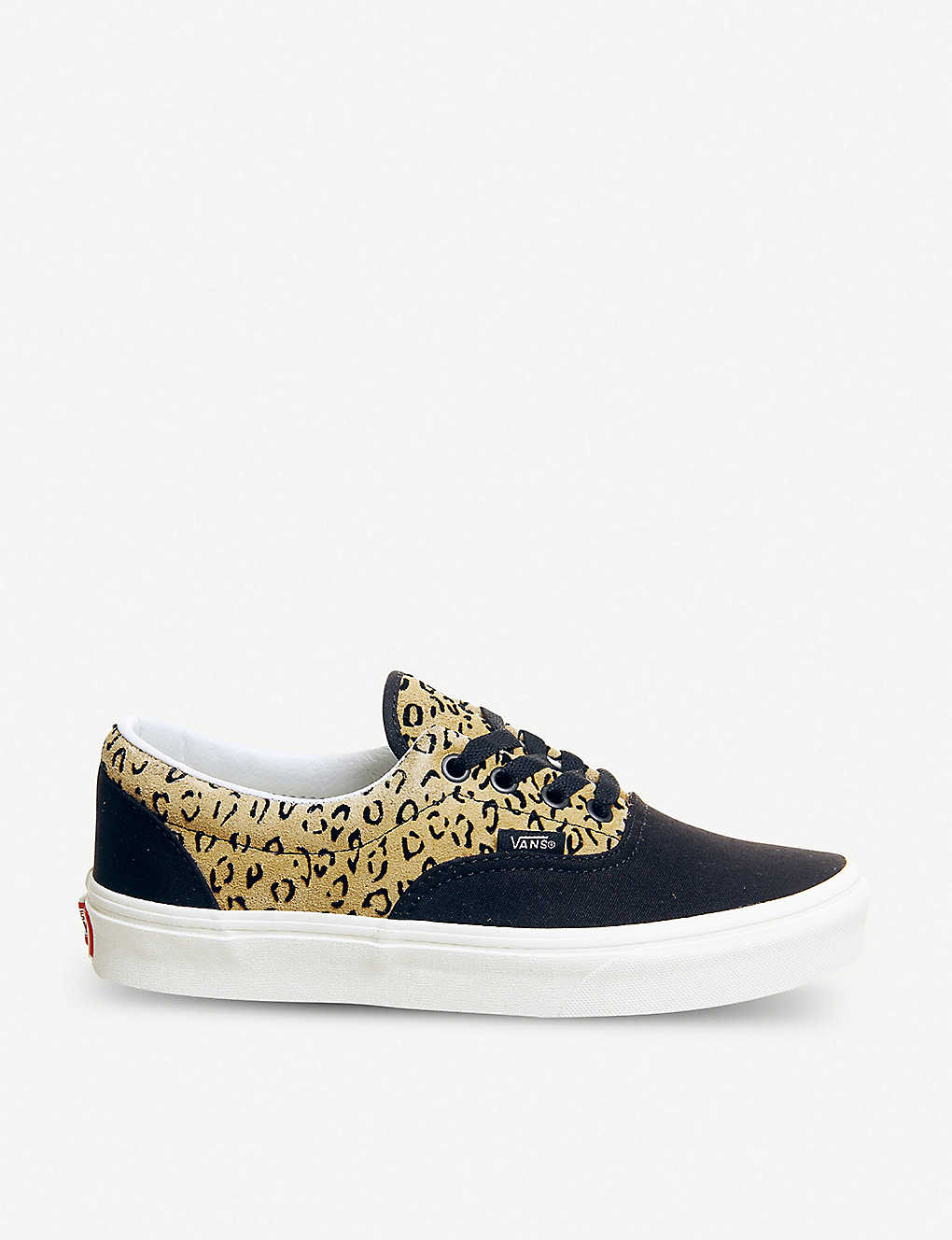 9a64900eb552 Era leopard-print leather and canvas trainers - Leopard black taffy ...