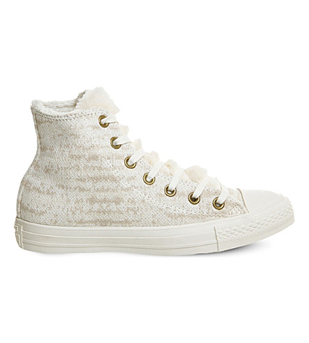 6c7ba05712d2 CONVERSE All star hi faux shearling trainers (Grey+white+knit