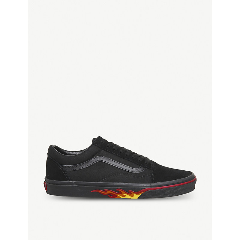 Vans Old School Canvas Trainers In Black Flame Wall  3ce84810a
