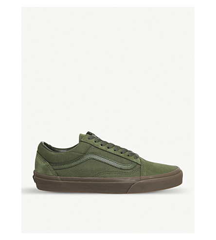 1258c5b32286 Vans Old Skool Canvas And Suede Trainers In Winter Moss Gum ...