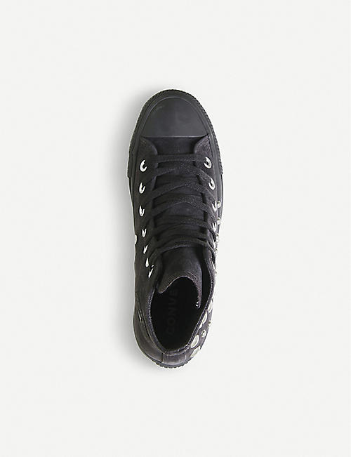 CONVERSE All Star studded suede high-top trainers
