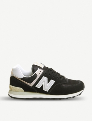 NEW BALANCE 574 suede and mesh trainers