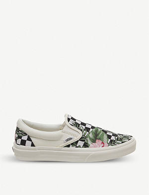 VANS Classic tropical-print check canvas trainers